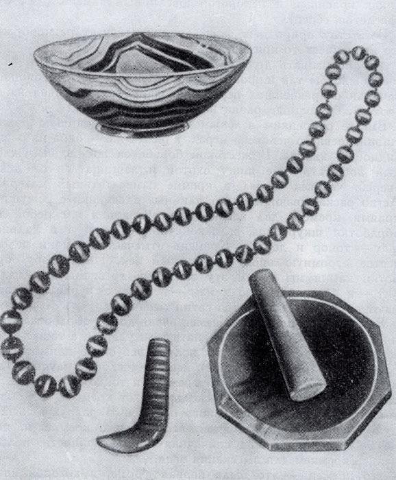 Изделия из агата: вазочка, бусы, подпятник и ступка