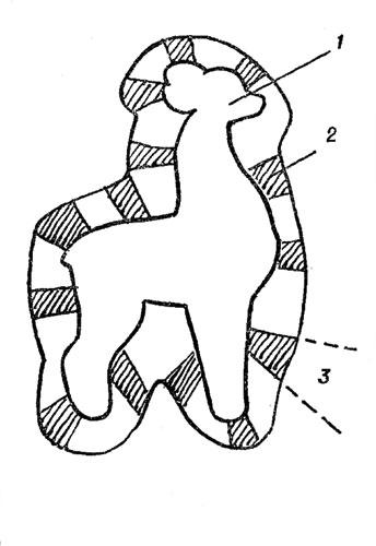 Рис. 114. Закрепление в смоле изделия сложной формы: 1 - заготовка; 2 - лапка; 3 - надрезы