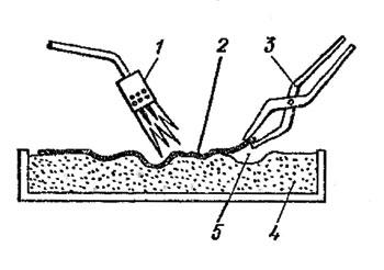 Рис. 117. Освобождение чеканки от смоляной основы: 1 - горелка; 2 - чеканка; 3 - клещи; 4 - смола; 5 - скол