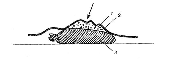 Рис. 119. Засмолка участка рельефа: 1 - чеканка; 2 - смола; 3 - мешок с песком