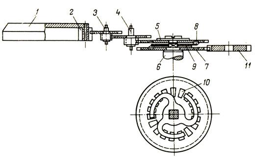 Схема механизма автоподзавода: